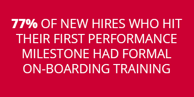 77% OF NEW HIRES WHO HIT THEIR FIRST PERFORMANCE MILESTONE HAD FORMAL ON-BOARDING TRAINING